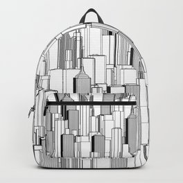 Tall city B&W / Lineart city pattern Backpack