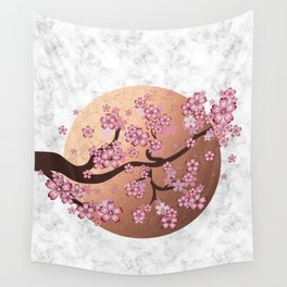Blooming Sakura Branch on marble Wall Tapestry