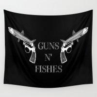 guns Wall Tapestries featuring Guns n' Fishes black by Antoine