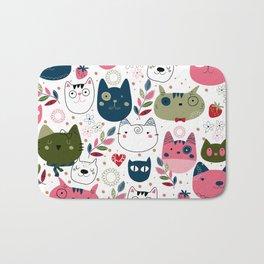 Modern Cat Pattern Bath Mat