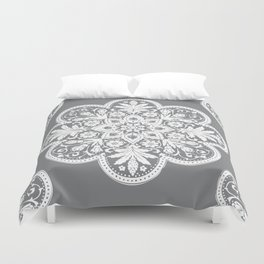 Floral Doily Pattern | Grey and White Duvet Cover