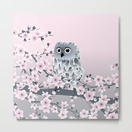 Cute Owl and Cherry Blossoms Pink Gray Metal Print