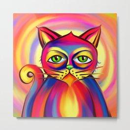Psycho Cat Metal Print