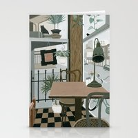 cafe Stationery Cards featuring View from the Cafe by Yuliya