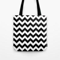 chevron Tote Bags featuring Chevron (Black/White) by 10813 Apparel