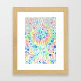 Rainbow Cubes & Diamonds Framed Art Print