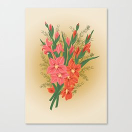 Bouquet of pink and red gladioluses Canvas Print