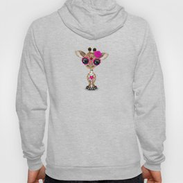 Pink Day of the Dead Sugar Skull Baby Giraffe Hoody
