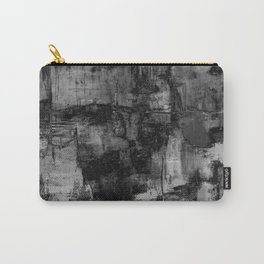 Crackled Gray - Black, white and gray, grey textured abstract Carry-All Pouch