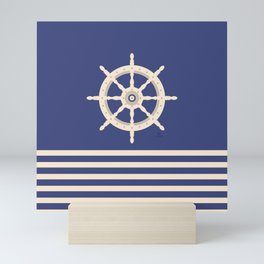 AFE Navy & Beige Helm Wheel Mini Art Print