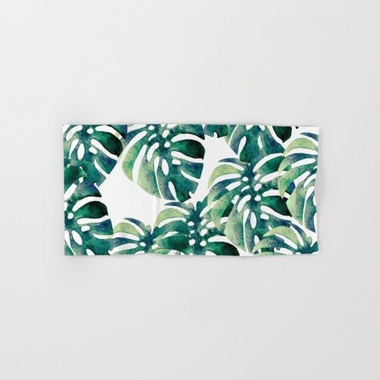 Monstera Pattern Hand & Bath Towel