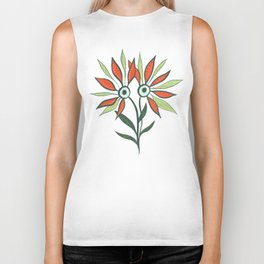 Cute Eyes Flower Monster Biker Tank