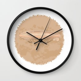 Airship in graphic style. Beige colors.  Wall Clock