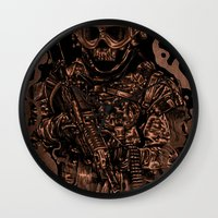 military Wall Clocks featuring Military skull by barmalisiRTB