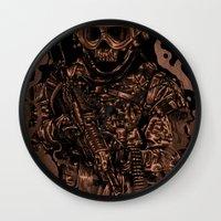military Wall Clocks featuring Military skull by barmalisiRTB