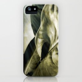 sunlight on golden silver tropical leaves iPhone Case