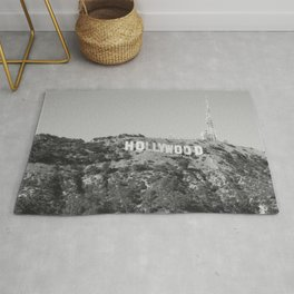 Hollywood Sign Black & White, California Vintage, Retro, Fine Art Photography Rug
