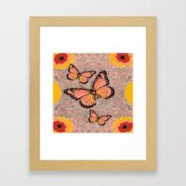 CORAL COLORED MONARCH BUTTERFLIES FANTASY ART Framed Art Print