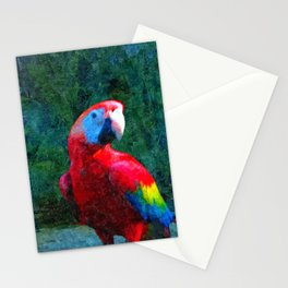 Red Parrot Tropical Bird Painting Stationery Cards