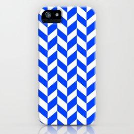 Herringbone Texture (Blue & White) iPhone Case