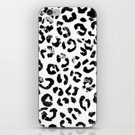 Modern black white marble stylish leopard pattern iPhone Skin