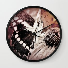 coneflower and butterfly Wall Clock