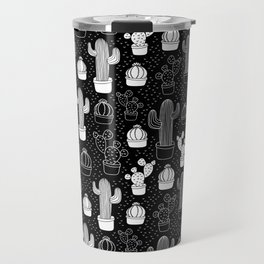 Black & White Cactus Doodle Pattern Travel Mug