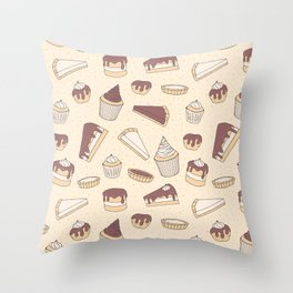 Chocolate Pastry Pattern Throw Pillow