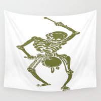 drum Wall Tapestries featuring A Zombie Undead Skeleton Marching and Beating A Drum by taiche