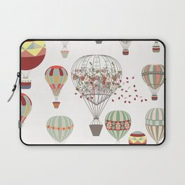 Adventures. Illustration with air balloons in vintage hipster style Laptop Sleeve