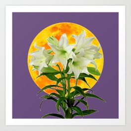 EASTER LILIES ON LILAC GOLDEN MOON ABSTRACT Art Print
