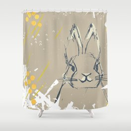 Bunny Portrait M+M Latte by Friztin Shower Curtain