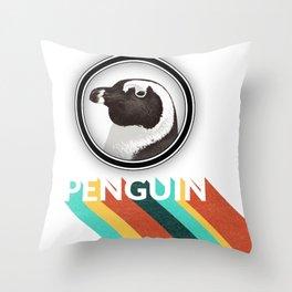 Retro spectacled penguin lettering Throw Pillow