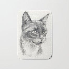 Black Cat portrait Black & White graphite pencil drawing Decor for Pet lover Bath Mat