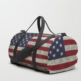 American Flag, Old Glory in dark worn grunge Duffle Bag