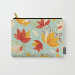 Whimsical Abstract Colorful Lily Flower Pattern Carry-All Pouch