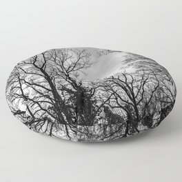 Black and white haunting trees Floor Pillow