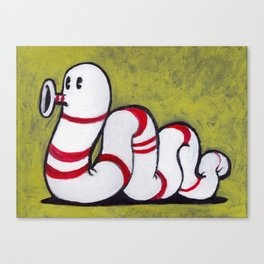 Early Worm - Worm on Green #2 Canvas Print