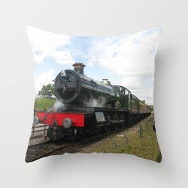 Vintage steam engine railway train Throw Pillow