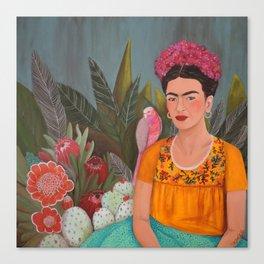 Frida a la casa azul Canvas Print