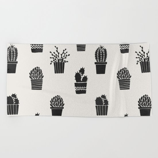 Southwestern Stamped Potted Cactus + Succulents Beach Towel