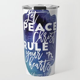 Bible verse watercolor typography blue background Colossians 3:15 Travel Mug