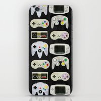 gamer iPhone & iPod Skins featuring Gamer Nostalgia by discojellyfish