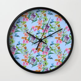 orchids, butterfly and hummingbirds on light blue background Wall Clock