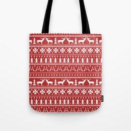Deer christmas fair isle camping pattern snowflakes minimal winter seasonal holiday gifts Tote Bag