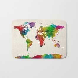 Watercolor Map of the World Map Bath Mat
