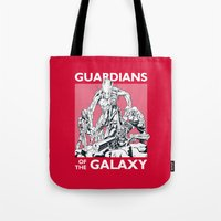 guardians of the galaxy Tote Bags featuring Guardians by LilloKaRillo