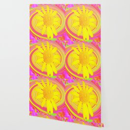 Yellow Sunflower on a Fuchsia Psychedelic Swirl Wallpaper