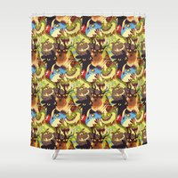 mother of dragons Shower Curtains featuring Dragons! by Flora
