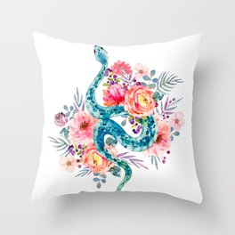 Blue Watercolor Snake In The Flower Garden Throw Pillow